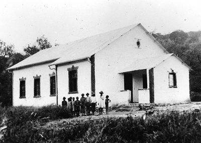 Church and school of the Ghaub Mission Station in the Otavi Mountains, founded in 1895.  Photo: Namibia Scientific Society