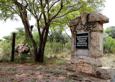 Memorial of Khorab north of Otavi, marking the spot where World War I ended in Namibia.  Photo: Sven-Eric Stender