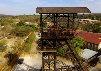 Head of the winding tower from 1925 at shaft no 1 of the mine in Tsumeb.  Photo: Jens Frautschy